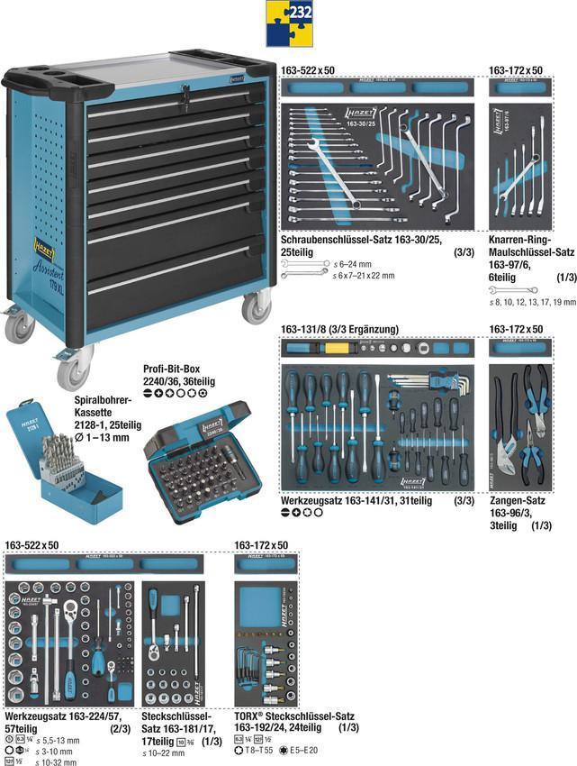 hazet werkstattwagen xl mit 232tlg profi werkzeug. Black Bedroom Furniture Sets. Home Design Ideas