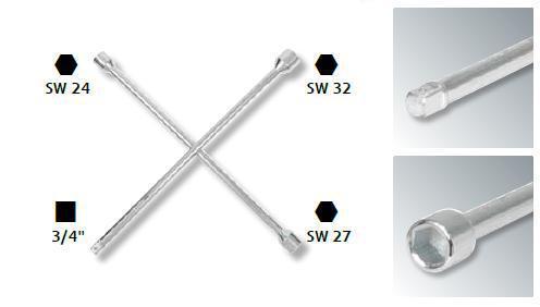 """KS TOOLS 518.1155 Radkreuzschlüssel LKW 3//4/""""x24x27x32mm"""