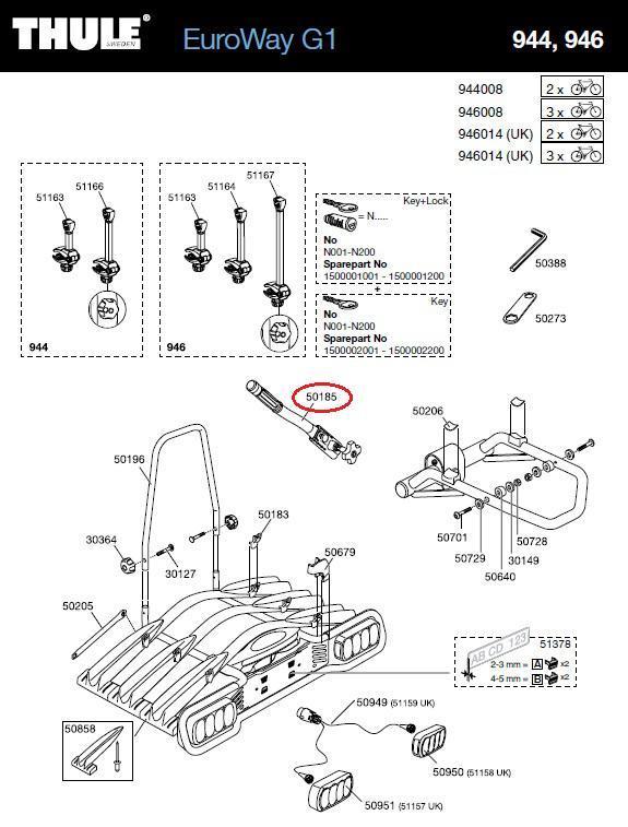 thule spannhebel f r 944 946 euroway heckfahrradtr ger. Black Bedroom Furniture Sets. Home Design Ideas