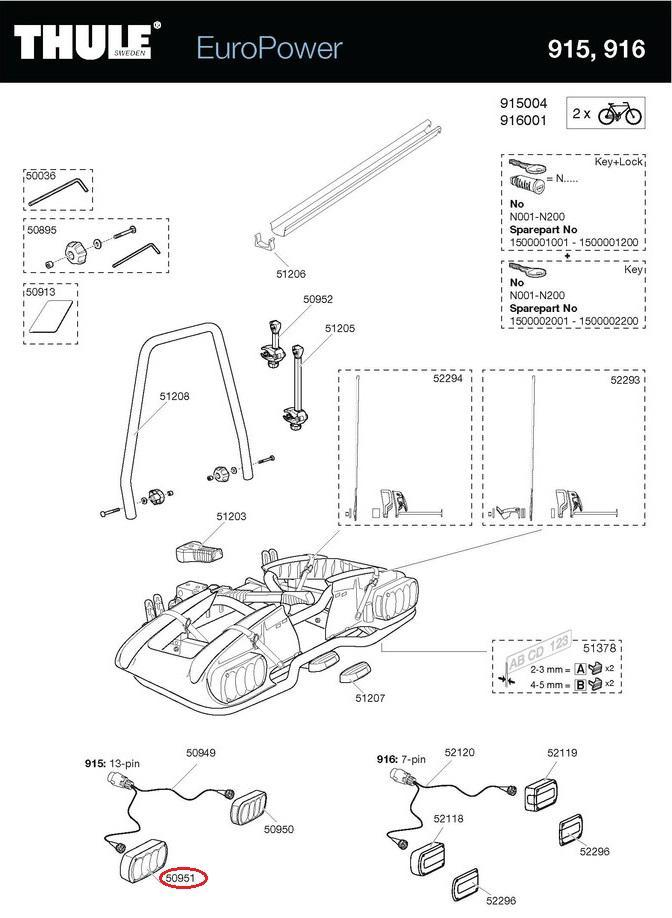 thule leuchte links 13 polig f r euroclassic g5 europower. Black Bedroom Furniture Sets. Home Design Ideas