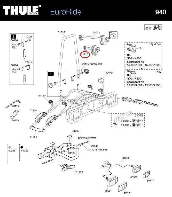thule haltearm 1 rad f r 940 941 943 euroride. Black Bedroom Furniture Sets. Home Design Ideas