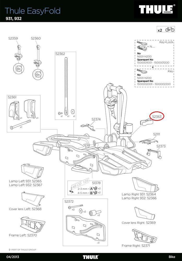 thule anschlusskabelhalter 931 924 926 f easyfold. Black Bedroom Furniture Sets. Home Design Ideas