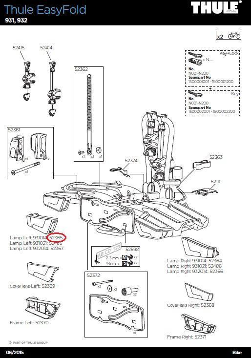 thule r ckleuchte links f r easyfold xt fahrradtr ger. Black Bedroom Furniture Sets. Home Design Ideas