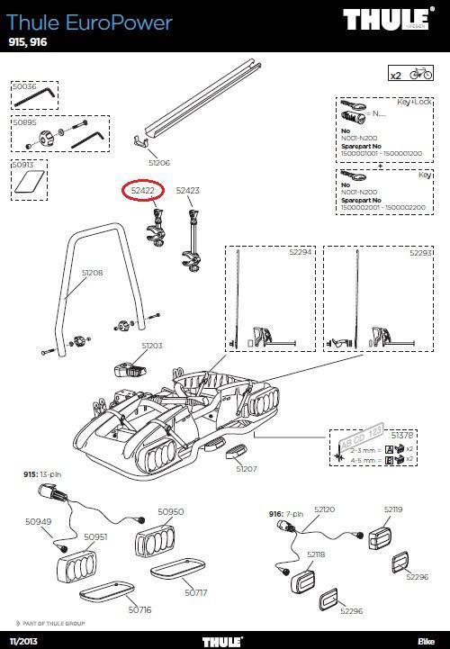 thule rms haltearm 1 rad bikearm 915 europower. Black Bedroom Furniture Sets. Home Design Ideas